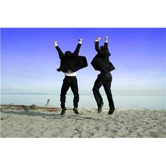 Men In Suits Jumping